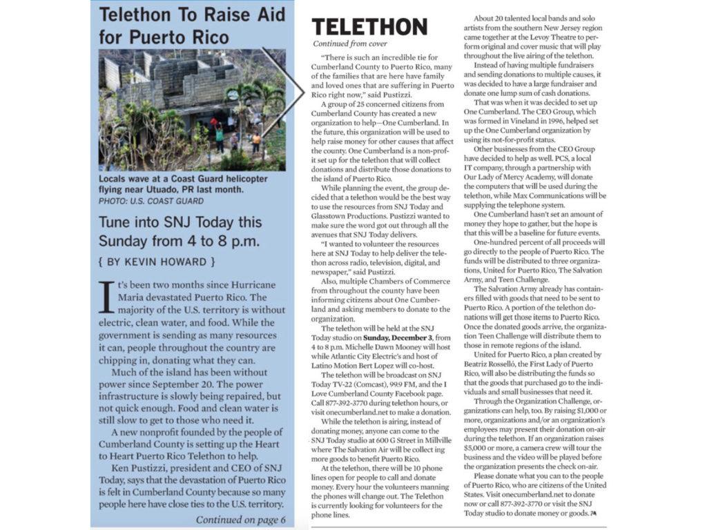 Telethon to Raise Aid for Puerto Rico